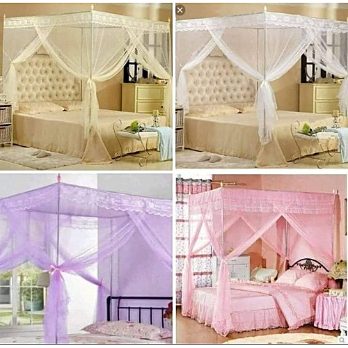 6x6 Mosquito Net Bed Canopy-Lace Luxury Square Princess Fly Screen (varing Colours)