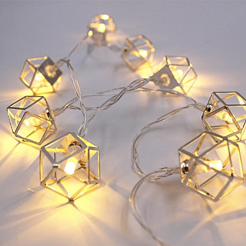 1.8M 3M Battery Operated LED Iron Polygon String Light Bedroom Home Christmas Decor Garland Lamp-