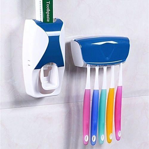 Toothpaste Dispenser Plus Brush Holder - Blue