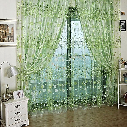 1M*2M Countryside Flower Tulle Voile Window Curtain Panel Sheer Drapes Green