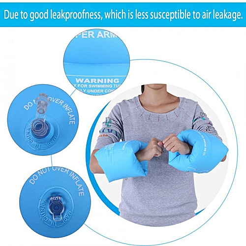 One Pair Adult Children Inflatable Safety Swimming Arm Ring Floating Swim Armband (Blue)