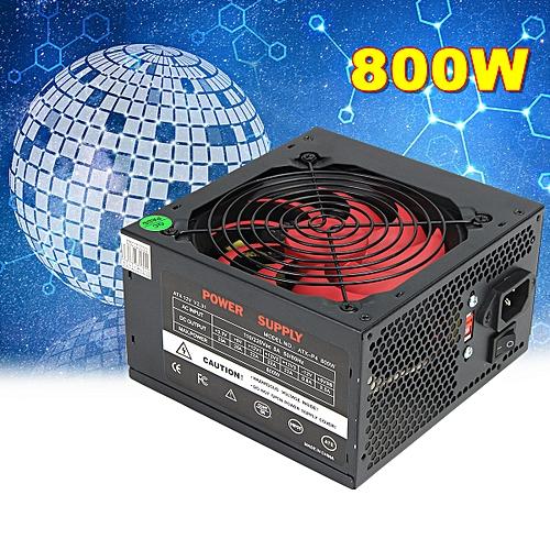 PFC 800W Computer PC Power Supply ATX 24-PIN 12cm Red Cooling Silent Fan(EU Plug)