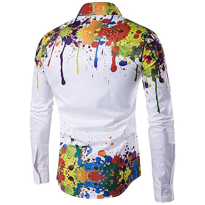 57979b2bbb6 Men Shirt Long Sleeve 3D Splash Ink Print Shirts Casual Blouse Plus Size  MR L