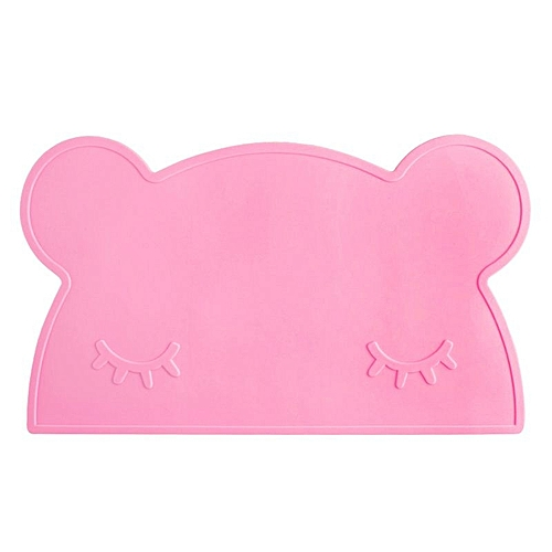 Kids Placemats - Silicone Placemat For Kids, Silicone Bear Placemat ,Waterproof Non Slip Baby Placemat, Portable Food Mat Travel Placemat For Toddler(Pink)