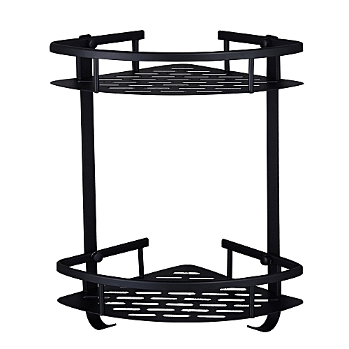 Dual Tier Wall Mounted Corner Shelf With 2 Hooks Space Aluminum Kitchen Rack Punch-free Double-layer Triangle Basket Wall Hanging