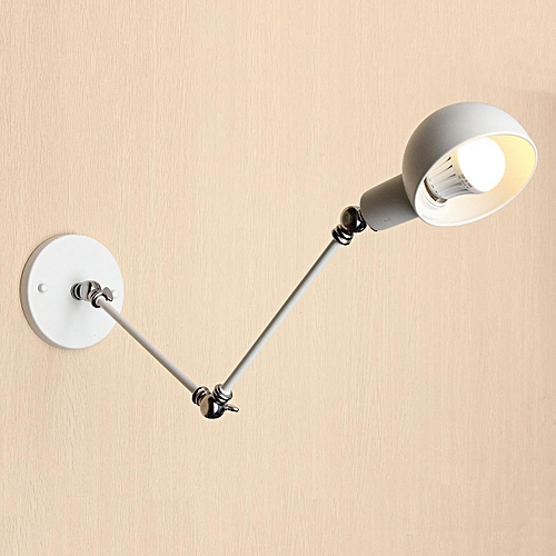 Vintage Industrial Adjustable Swing Arm Light Sconce Wall Lamp Light Fixture E27 White