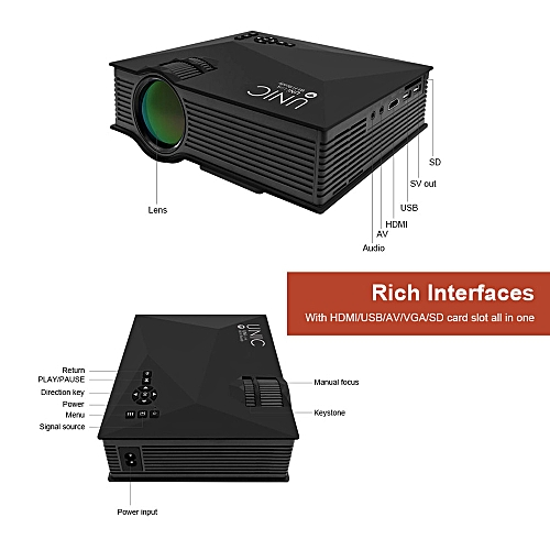 Black UNIC UC46 Full HD LED Video Home Cinema Projector With WIFI Ready Artificical