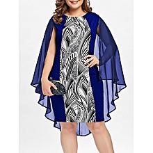 3dc4ed465b7 Print Sheath Cape Plus Size Dress