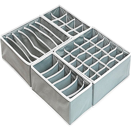 4pcs/set Clothes Socks Bra Ties Underwear Storage Boxes Organizer Container Gray