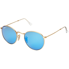 3f2d95c25b Ray-Ban RB3447 Round Metal Polarized 50mm - One Size - Matte Gold Blue