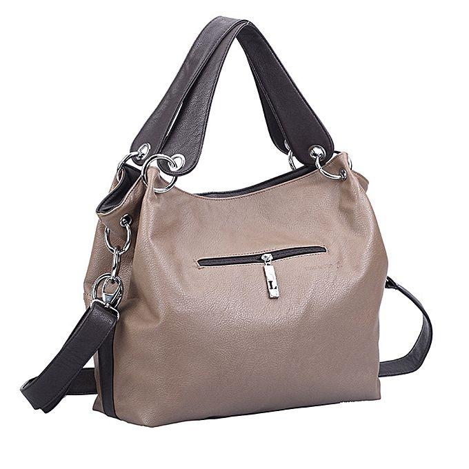 Women Stylish Split Joint PU Leather Hobo Bags Crossbody Shoulder Bag Handbag Khaki