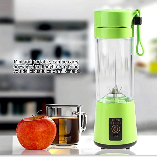 400ML Portable USB Rechargeable Plactic Juicer Fruit Juice Extractor Blender (Green)
