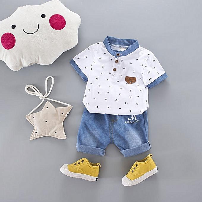 3256cbd8f Generic 2Pcs set Summer Children Clothing Boys Lapel Short Sleeve ...