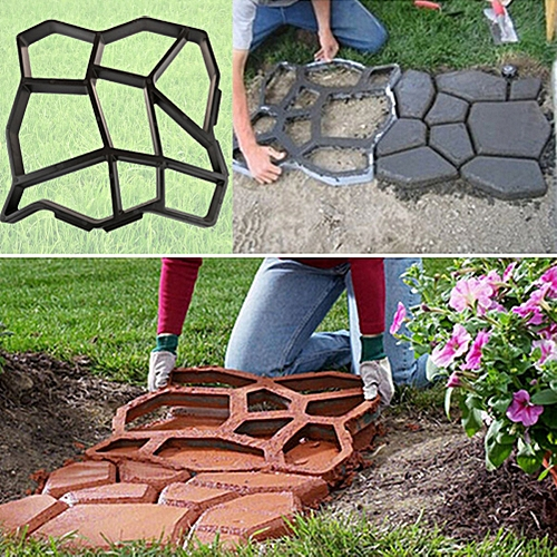 Garden DIY Plastic Path Maker Mold Manually Paving Courtyard Stone Road Cement Brick Mold