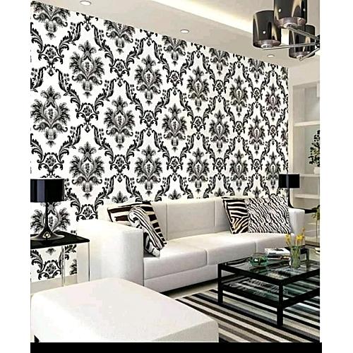 Monochrome Damask Wallpaper - 5.3 Sqm