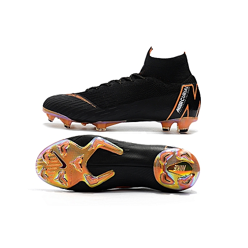 3b748303d Fashion  Ready Stock Exercise And Fitness Nik Assassin 12 Generation Black  Orange Knitted Faces Flyknit 360 Technology Waterproof FG Nail Soccer Shoe  Nik ...