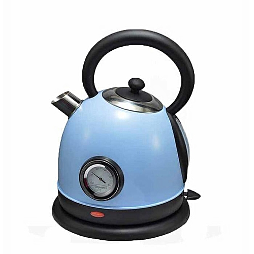 BlueLife 1.8L Stainless Steel EU Plug Electric Kettle With Thermometer - Blue