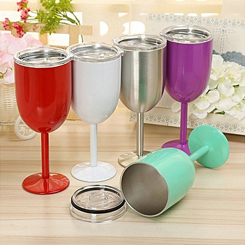 14OZ Stainless Steel Wine Glass Insulated Metal Goblet Tumbler Mugs Cup For Kitchen Bar Party