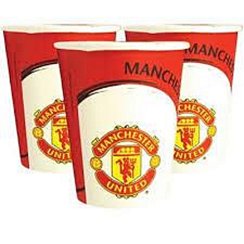 MANCHESTER UNITED FC PARTY PAPER CUPS 12OZ SOLD IN A PACK OF 100