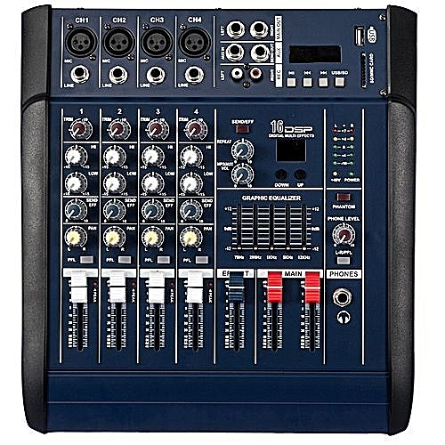 4 Channels Mixer Amplifier With Bluetooth & Phantom Power