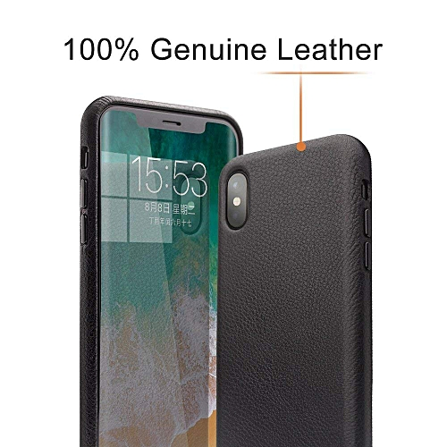 low priced 8c651 7429d IPhone X Case, QIALINO Slim Gripy Genuine Leather Protective Bumper IPhone  X Cover For Apple IPhone X, Black