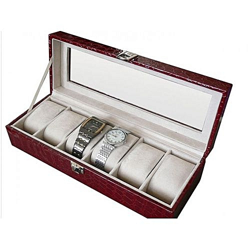 Safe Wrist Watch Leather Box Organizer -6 Slots