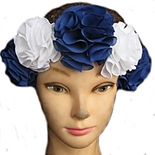 7bb603c836f6b Flower Head Band - Blue  amp  White Rose Flower Crown Hair Band Accessory