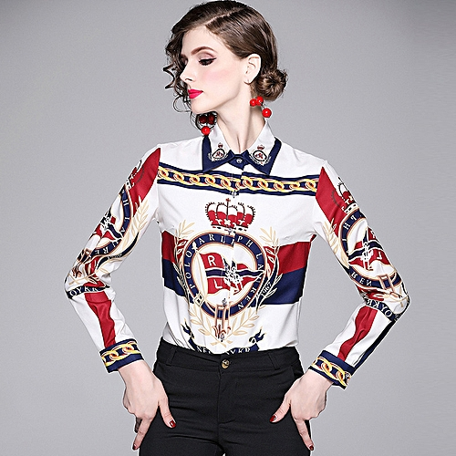 2019 Women's Printed Slim Long-sleeved Lapels Shirt - White
