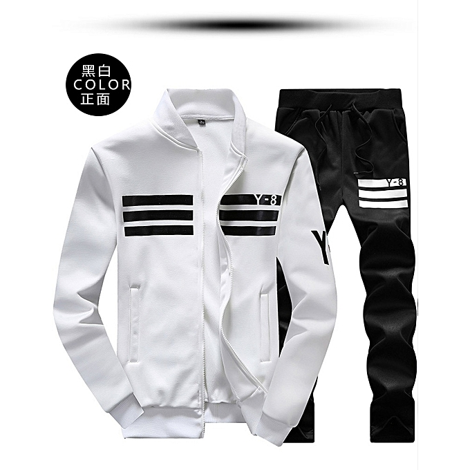 f3a839039b1 Fashion WHITE Spring And Autumn New Men s Large Size Sports Suit Casual  Long-sleeved Baseball Jacket Y8 Student Sweater Men (China Size)
