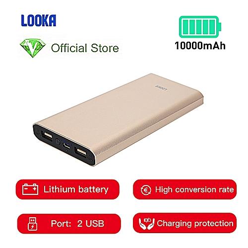 Power Bank 10000mAh Li-Battery Dual USB Port - Gold