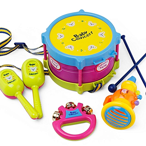New 5pcs Kids Baby Roll Drum Musical Instruments Band Kit Children Toy Gift Set