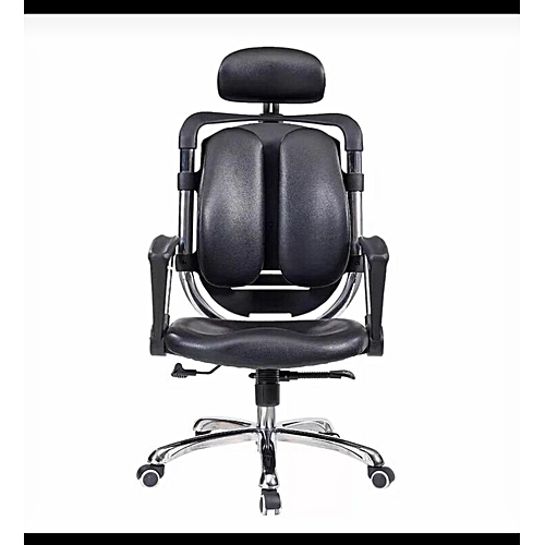 Kidney Leather Chair - Black