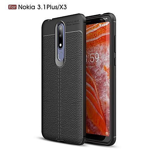 check out bb4ea 15fde Nokia 3.1 Plus Back Cover-Litchi Pattern Silicone Case Black