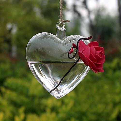 Clear Heart Glass Hanging Vase Bottle Terrarium Pot Flower Home Decor