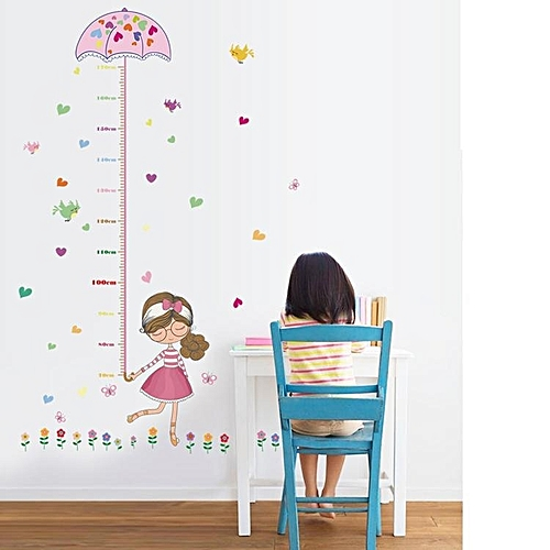 generic cute tiger animals stack height measure wall stickers decal