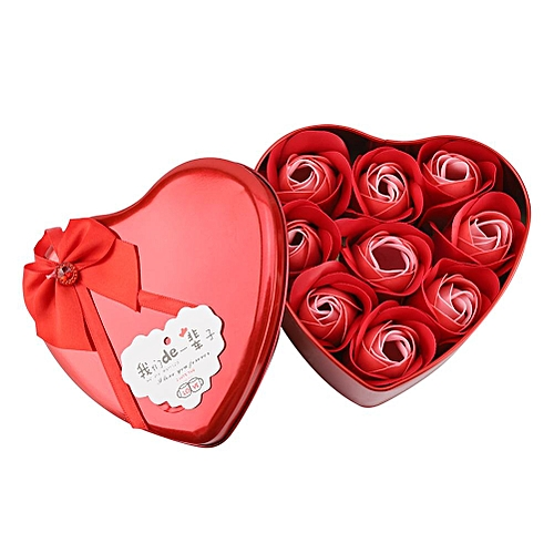 Soap Rose Artificial Flower Gift Heart Shaped Box For Mother's Day Birthday