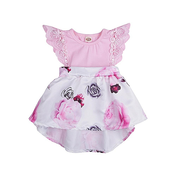 94f90252fea25 Toddler Infant Baby Girls Dress Floral Print Lace Princess Dresses Outfits  Musiccool