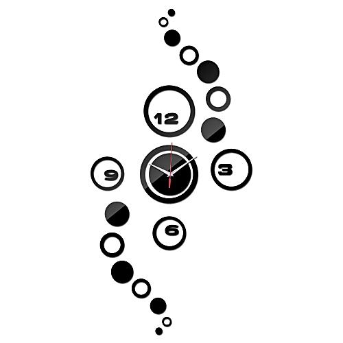 Wall Clock 3D DIY Circle Pattern Stickers Hour Modern Mirror Design Art Watches