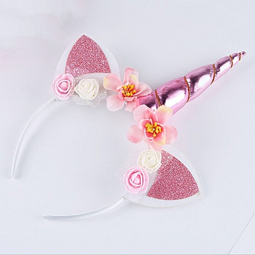 Unicorn Horn Hair Band Headband Birthday Party Flower Floral Headwear Crown Pink
