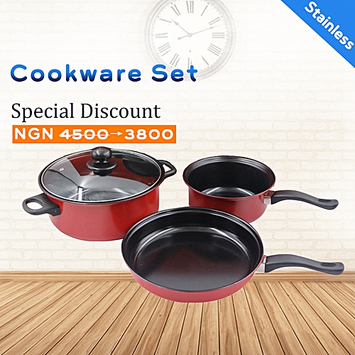 Cookware Set 3piece Set Cooking Pots Set Stainless Steel With Pot Cover