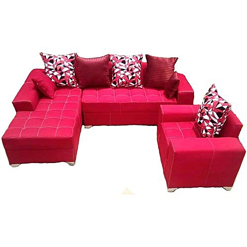 L-shaped Sofa Chair Couch With Additional Single Seater -Red