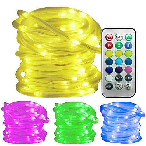 Battery Powered 5M 10M RGB Waterproof LED Rope Copper Wire String Light For Wedding +21Keys Remote -