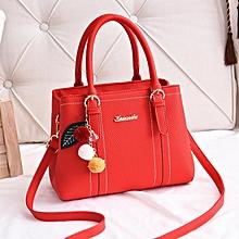 a4f0e5072248 Multicolored Pendant Leather Handbag - Red
