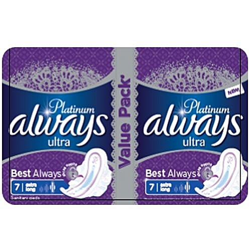 Always Platinum Ultra Sanitary Pad W/flexible Wings - 14 Pads