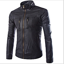 6d05d9a82563a1 Korean Leather Jacket For Men Slim-type Vertical Collar Street Tide Casual  Business Locomotive Leather