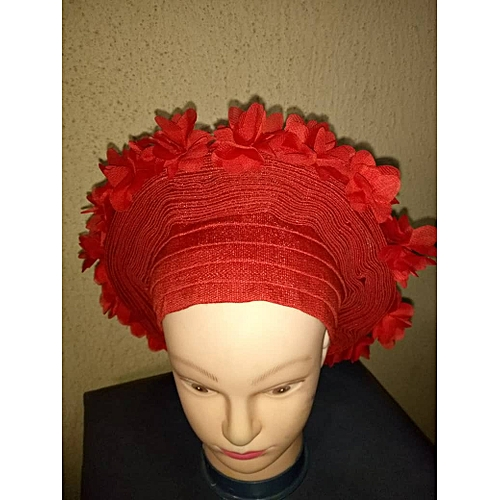 Red Aso Oke Autogele With Rose Flowers Designed