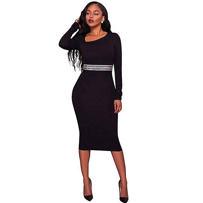 Biloxa Ladies Long Sleeve Body Fitting Pencil Cut Bodycon Dress