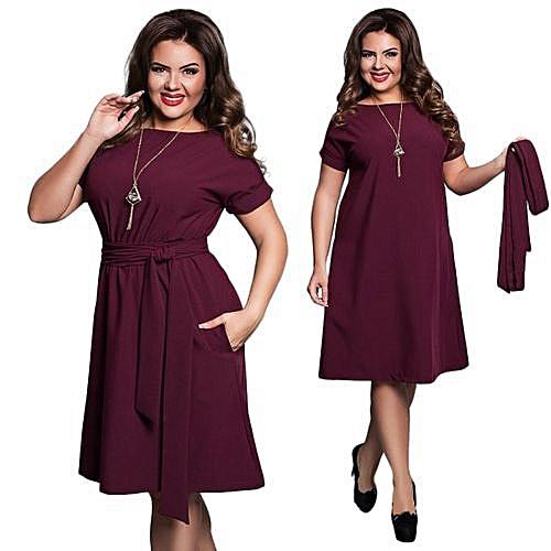 Women Casual O-neck Solid A-line Plus Size Dress Slim Short Sleeve Vintage Belted Knee Length Summer Dress-wine Red