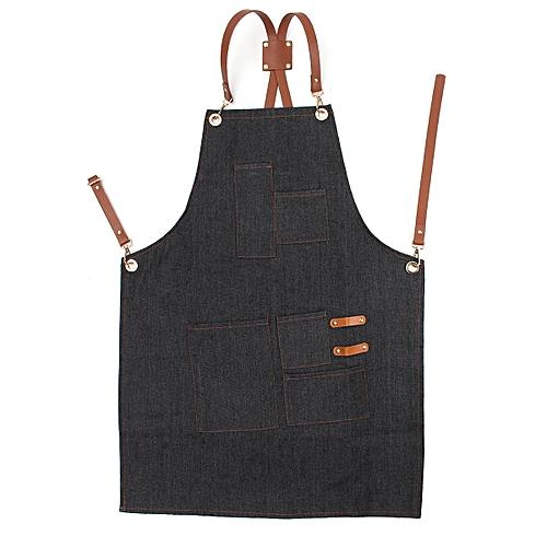 Denim Bib Apron Leather Strap Barista Baker Bartender BBQ Chef Work Uniform Cook