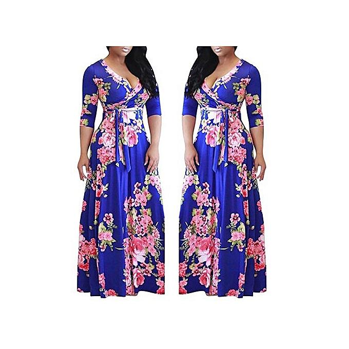 f558cca759 Plus Size Floral Print Party Maxi Dress Ankara Gown - Multi